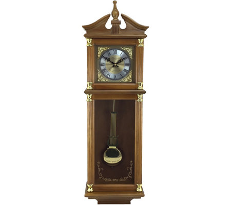 "Bedford Clock 34-1/2"" Harvest Oak Finish Chiming Wall Clock"