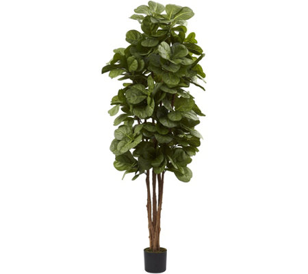 6' Fiddle Leaf Fig Tree in Black Planter by Nearly Natural