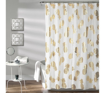 Pineapple Toss Gold Shower Curtain ByLush Decor