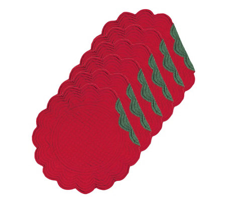 C F Home Round Quilted Red Green Placemat Setof 6