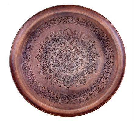 Old Dutch Casablanca Etched Antique Inspired Copper Round Tray — QVC com
