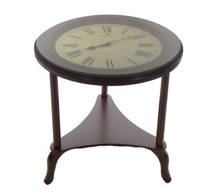 Side Table With Shelf And Quartz Movement Clock