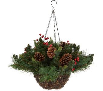 Scott Living Lit Rattan Holiday Greens Hanging Basket   H216575