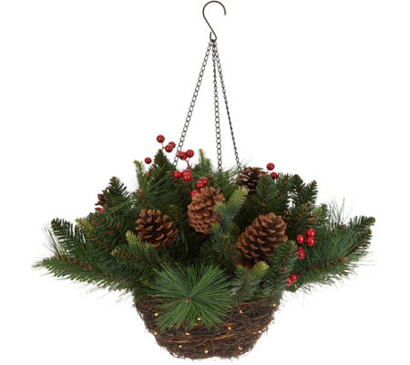 Scott Living Lit Rattan Holiday Greens Hanging Basket