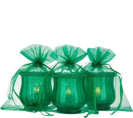 Set of (3) Mercury Glass Votive Holders w/ Sheer Bags by Valerie