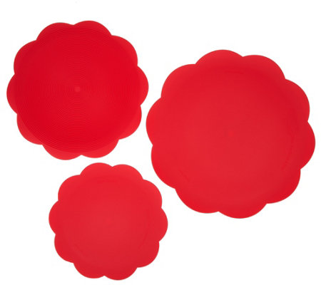 Set of 3 8-in-1 Silicone Scalloped Safe Grabs by Lori Greiner
