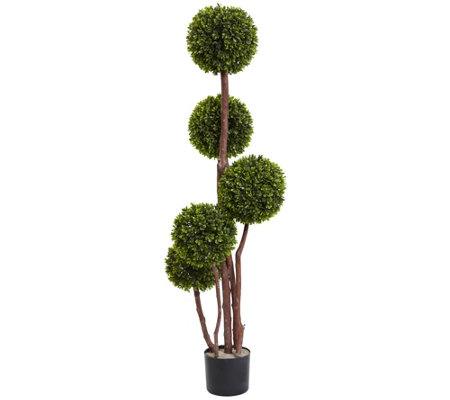4' Boxwood Five Ball Topiary by Nearly Natural