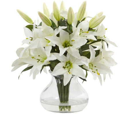 Lily Arrangement with Vase by Nearly Natural