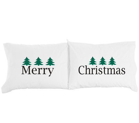 Shavel Micro Flannel Merry Christmas Print Pillowcase Pair