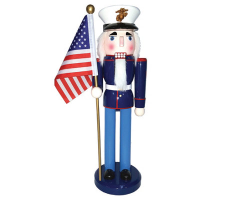 "14"" Marine Nutcracker with Flag by Santa's Workshop"