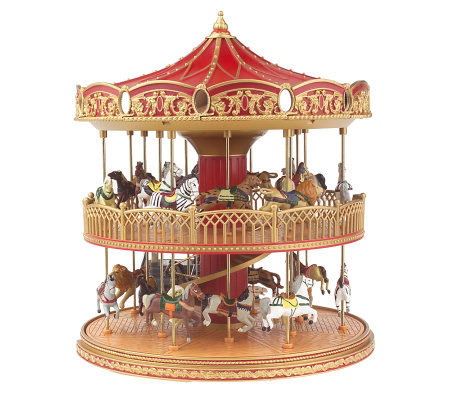 Mr Christmas Carousel.Mr Christmas Animated Double Decker Musical Carousel Qvc Com