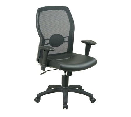 Office Star Black Screen Back Chair with Leather Seat
