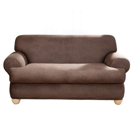Sure Fit Stretch Faux-Leather T-Cushion Loveseat Slipcover