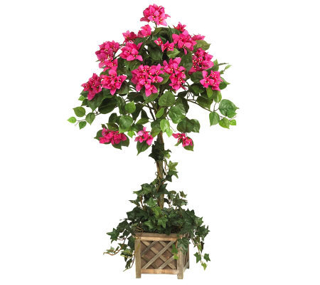 Bougainvillea Topiary w/Wood Box by Nearly Natural