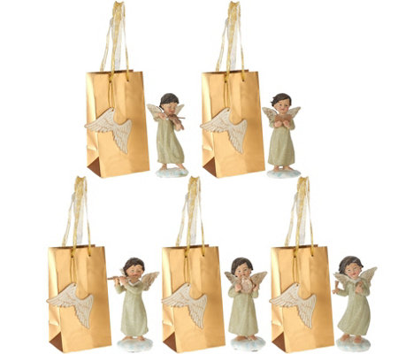 Set of 5 Musical Angels with Gift Bags by Valerie