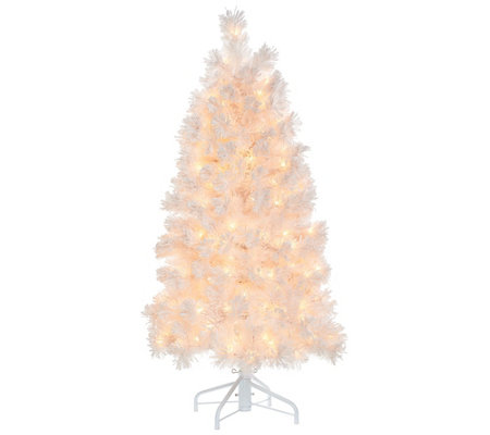 Bethlehem Lights Prelit 5 Slim Pine Snowy White Christmas Tree