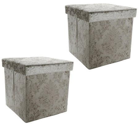 Casa Zeta-Jones Set of 2 Velvet Damask Storage Ottomans