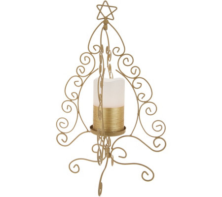 "Lightscapes 16"" Metal Scroll Tree w/Flameless Candle"