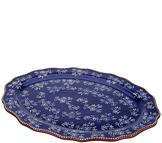 "Temp-tations Floral Lace 20"" Oval Platter"