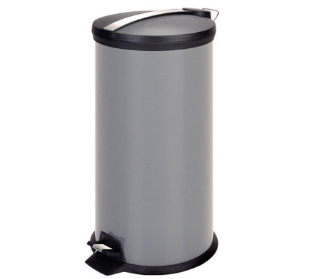 Honey-Can-Do 30-Liter Step Trash Can w/Stainless, Gray