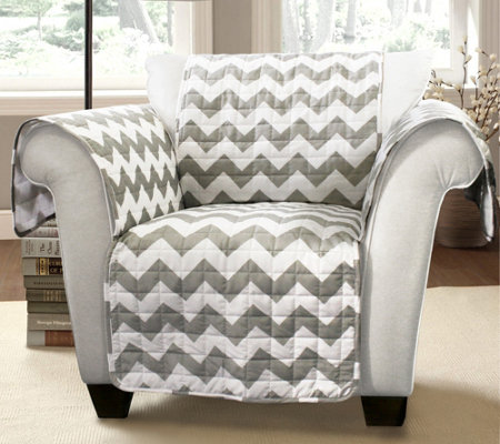 Gray Chevron Chair Furniture Protector by LushDecor