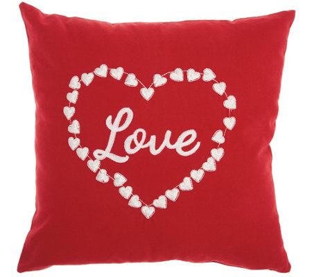 "Mina Victory Love & Heart Red 18"" x 18"" Throw Pillow"