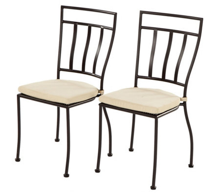 Alfresco Home Stackable S 2 Bistro Chairs W Outdoor Cushions