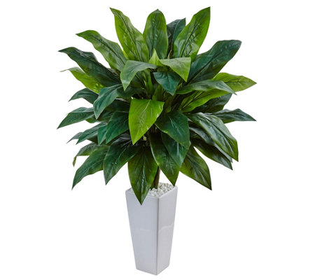 Cordyline In White Tower Planter By Nearly Natural