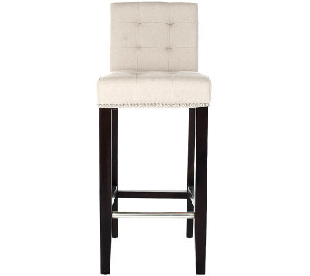 Safavieh Thompson Bar Stool Linen with Nickel Nailhead Detail