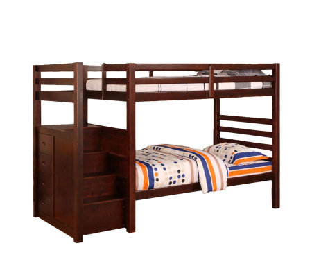 Pine Ridge Twin/Twin Bunk Bed w/ Built-in Steps& Drawers