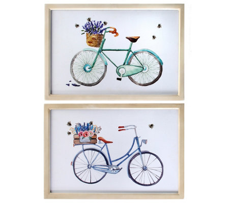 "Framed Bicycle with Flower Print 19"" X 13"" Setof 2 by Valerie"