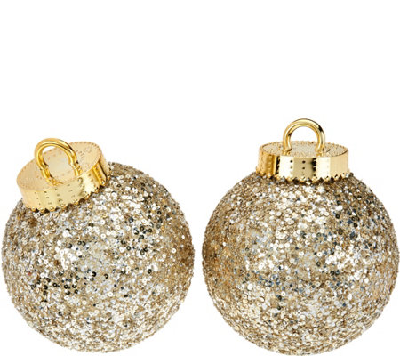 "Kringle Express S/2 Glittered & Sequined Indoor/Outdoor 8"" Ornaments"