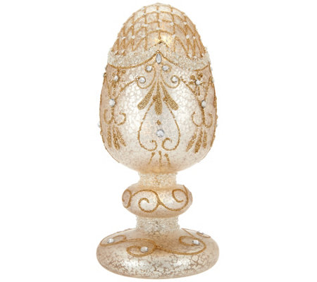 Illuminated Mercury Glass Egg on Pedestal by Home Reflections