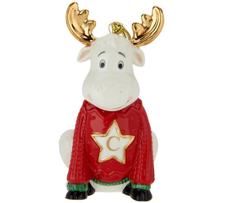 "Lenox Porcelain 4"" Moose Monogram Ornament w/ 24K Gold Accents"