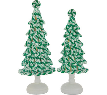 Set of (2) Illuminated Peppermint Candy Trees by Valerie