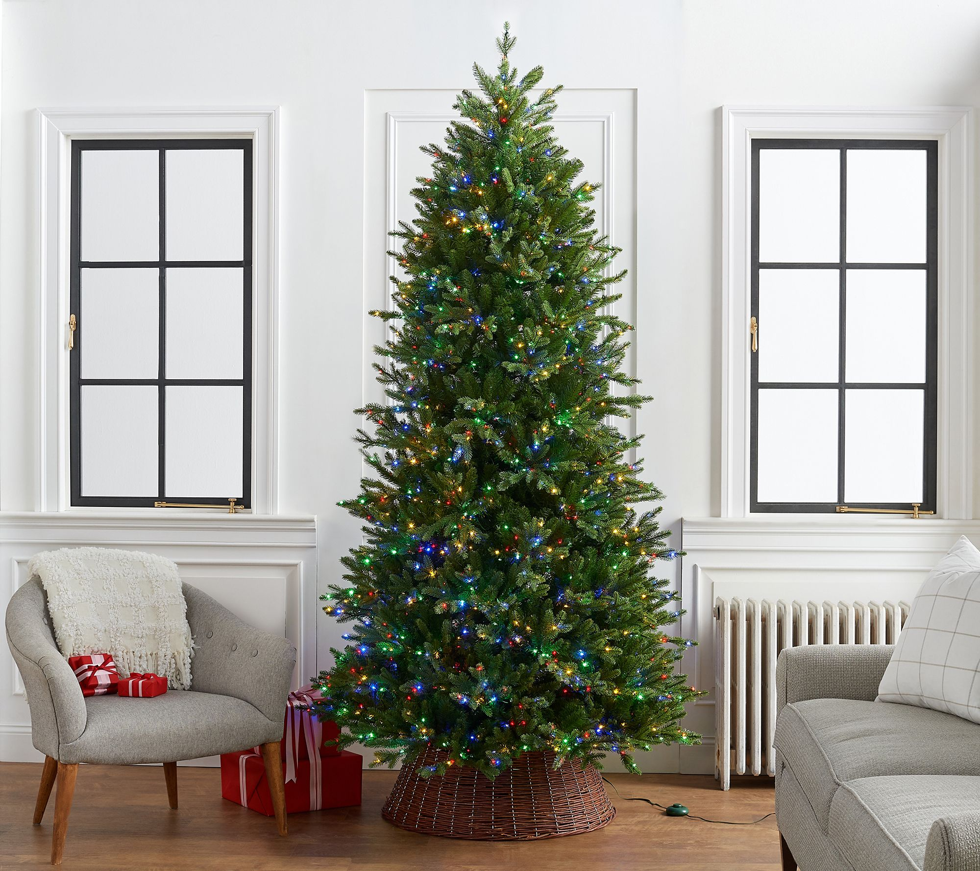 Home Reflections 9 Green Tree With Color Flip Fairy Lights Qvc Com