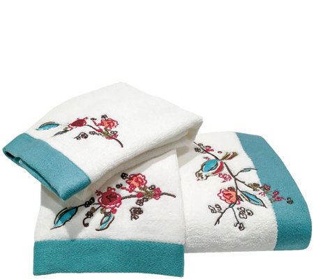Lenox Chirp 3-Piece Embroidered Towel Set