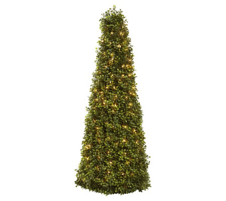 "39"" Boxwood Cone with Lights by Nearly Natural"