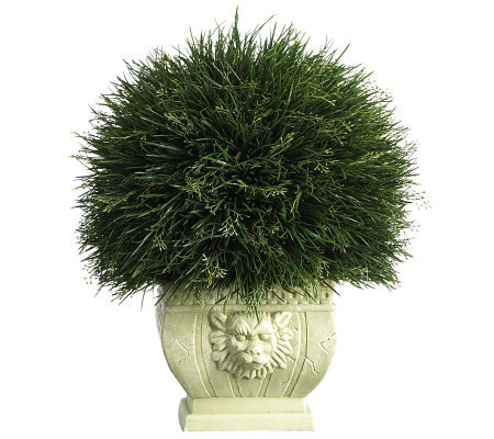 Potted Grass w/White Vase (Indoor/Outdoor) by Nearly Natural