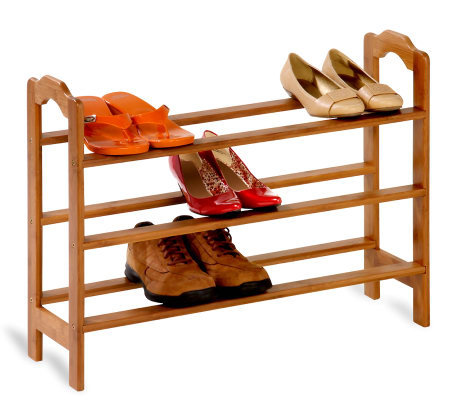 Honey-Can-Do Adjustable 3-Tier Bamboo Shoe Rack