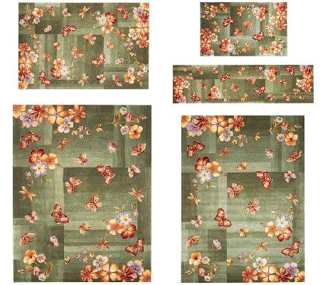 Royal Palace Butterfly Radiance Handmade Wool Rug Qvc Com