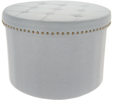 "Inspire Me! Home Decor 24""Round Tufted Collapsible Storage Ottoman"