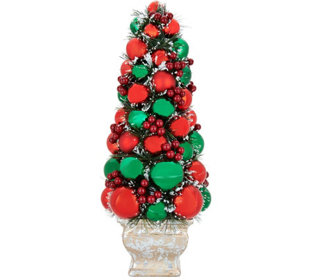 """As Is"" 21"" Ornament Tree in Urn w/Pine & Berry Accents by Valerie"