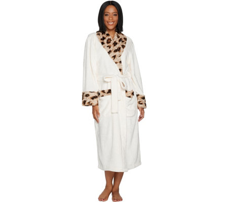 As Is Dennis Basso Plush Robe With Leopard Fur Trim