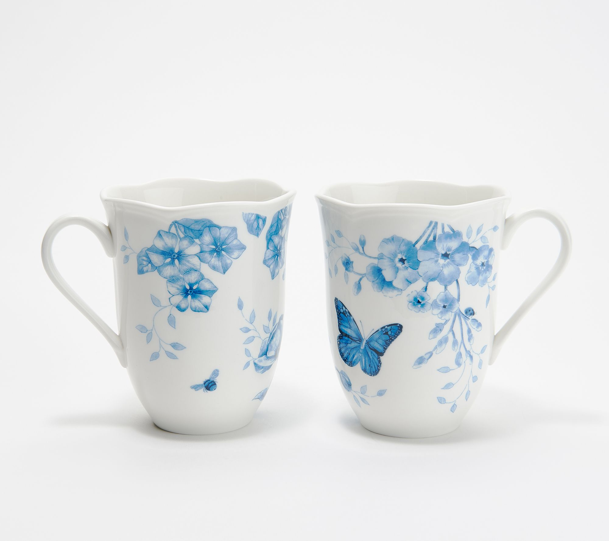 Lenox 4 Pc Butterfly Meadow Toile Porcelain Mug Set Qvc Com