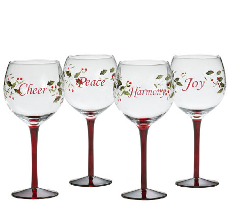 Pfaltzgraff Winterberry Set of 4 Wine Glasses with Sentiments