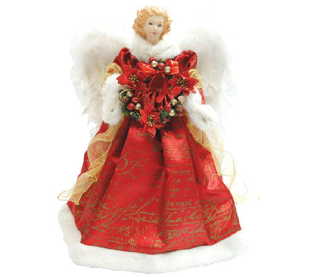 Red Scroll Angel Tree Topper by Santa's Workshop