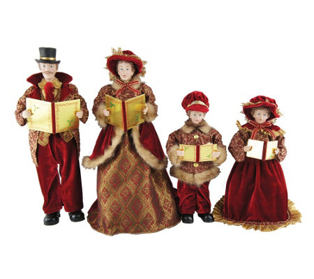 "Set of 4 15"" to 18"" Victorian Carolers by Santa's Workshop"