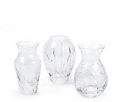 Miller Rogaska Set Of 3 Lead Crystal Mini Vases Qvc