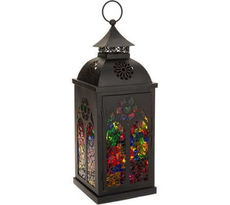 """As Is"" 15"" Illuminated Mosaic Glass Cathedral Metal Lantern"